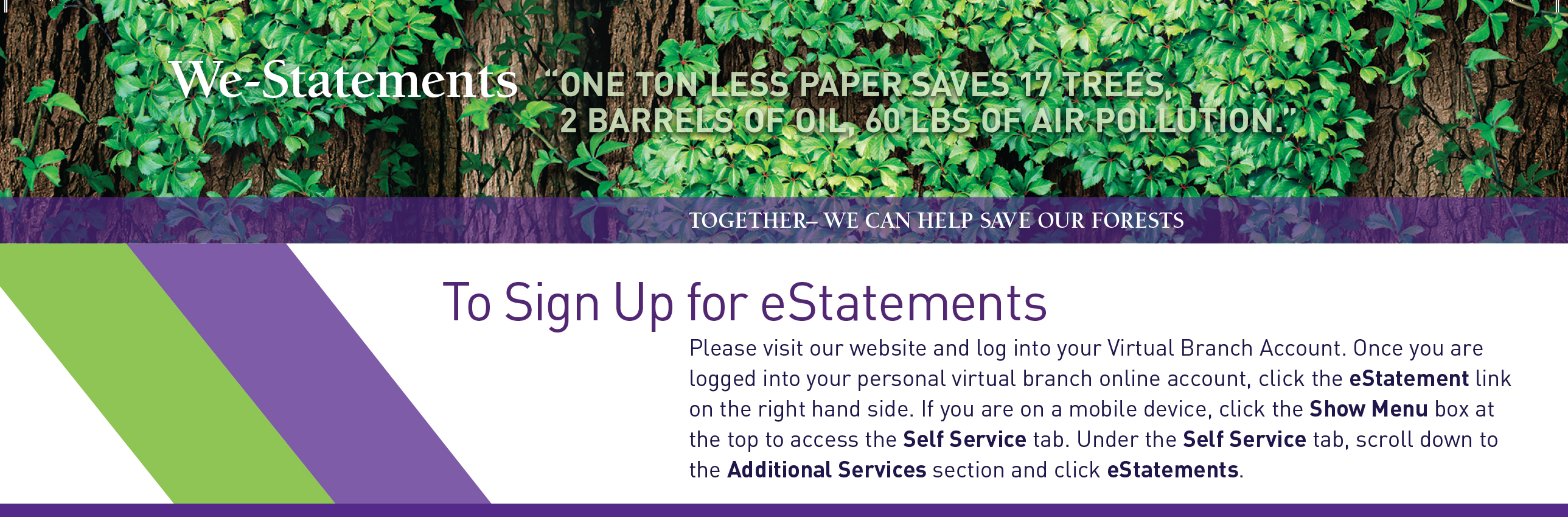 Sign up for eStatements